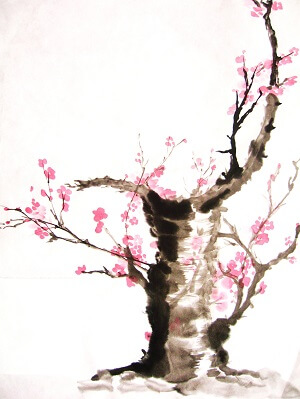 Baum mit Blüten - Asiatische Malerei
