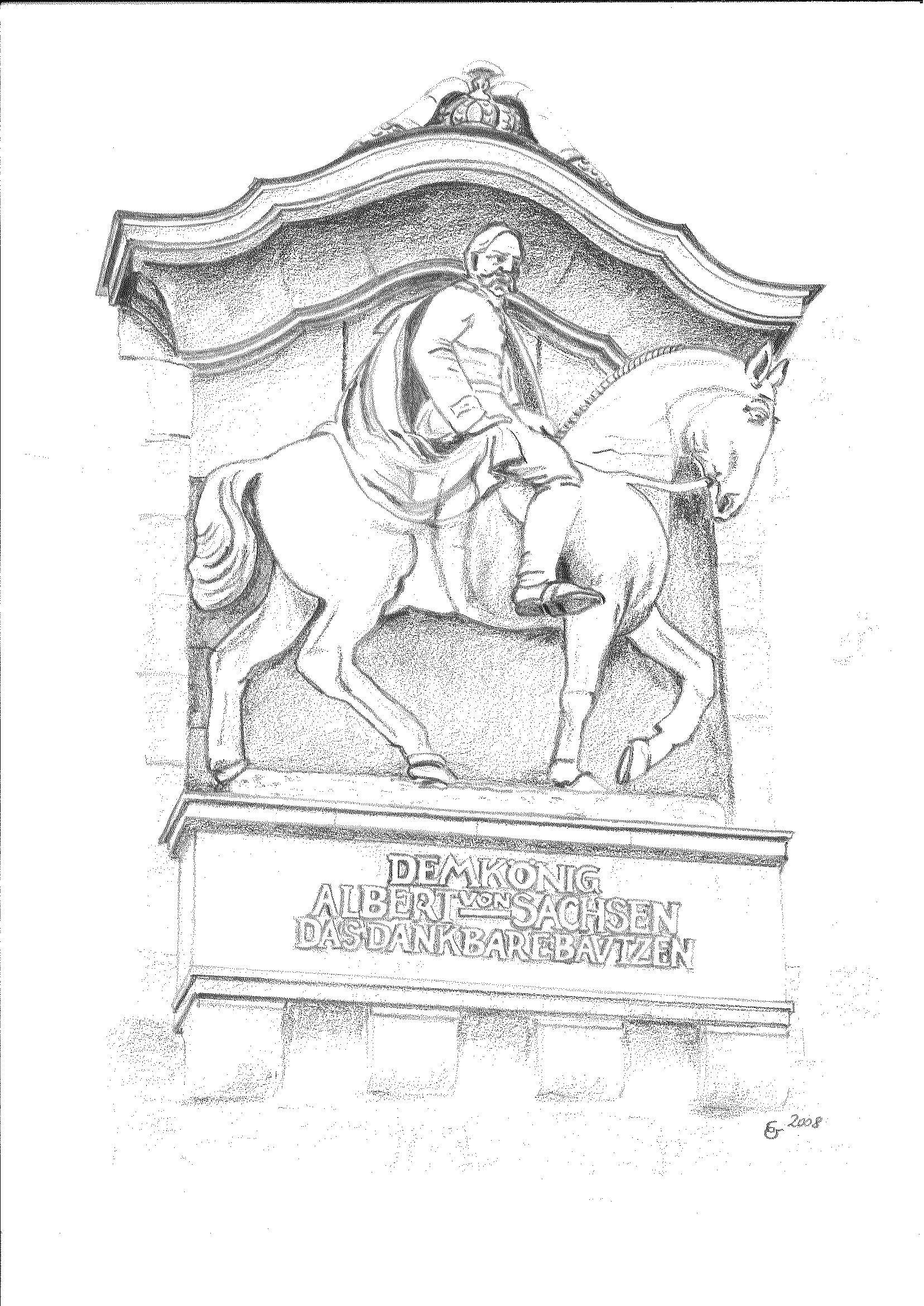 Bautzen - Reiterstandbild König Albert am Lauenturm